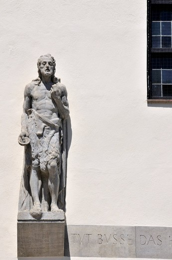 Statue of John the Baptist in front of the Protestant Johanniskirche St. John´s church, Mainz, Rhineland_Palatinate, Germany, Europe : Stock Photo