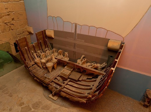 Shipwreck museum, Iron Age shipwreck, the Kyrenia Ship, dated 300 BC, interior view of Kyrenia Castle, Girne, northern Cyprus, Cyprus : Stock Photo
