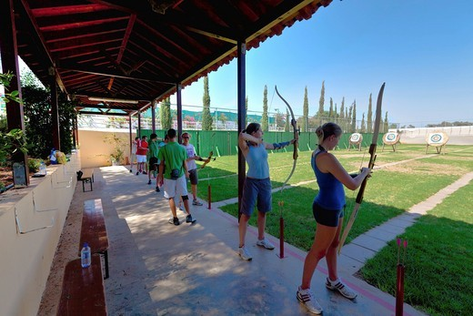 Archery in the Hotel Club Aldiana, Southern Cyprus, Cyprus, Europe : Stock Photo