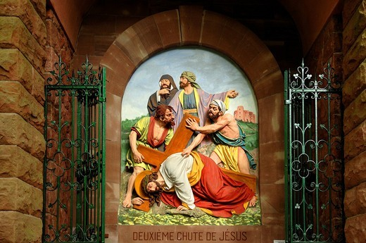 Seventh relief, Stations of the Cross to Dusenbach monastery, Jesus falling for a second time under the weight of the cross, Ribeauvillé, Alsace, France, Europe : Stock Photo