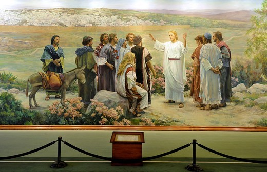 Go Ye Therefore, Jesus Christ and 11 Apostles, mural by Grant Romney Clawson after Harry Anderson, Lobby, Administration Building, office building, Temple of The Church of Jesus Christ of Latter_day Saints, Mormon Church, Temple Square, Salt Lake City, Ut : Stock Photo
