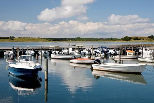 Small motor boats at Langoer harbour at Samsoe, Denmark, Europe : Stock Photo