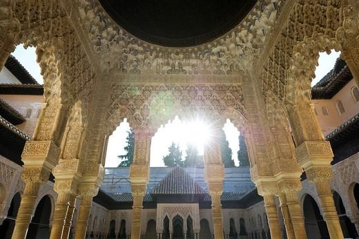 Patio de los Leones, Alhambra, Granada, Andalucia, Spain, Europe : Stock Photo