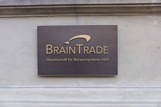 Stock Photo: 1848-541327 Frankfurt Stock Exchange, Brain Trade society for stock exchange systems GMBh, Frankfurt, Hessen, Germany, Europe