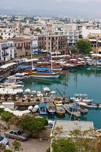 View of the port of the town of Kyrenia, Northern Cyprus, Cyprus, Turkey, Europe : Stock Photo