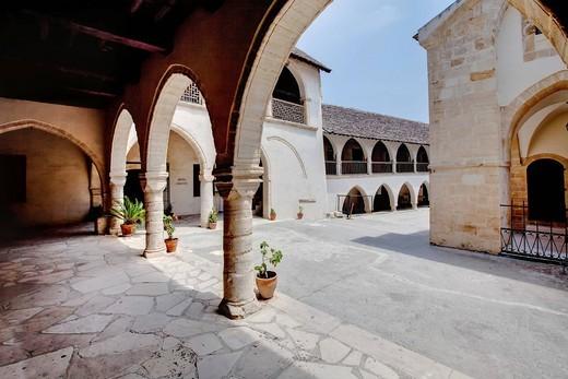 Cloister of the monastery church Timiou Stavro, Omodos, Troodos Mountains, Central Cyprus : Stock Photo