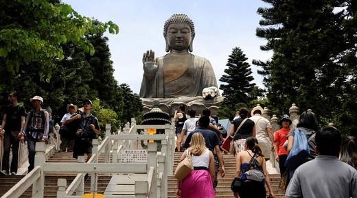 Stock Photo: 1848-541633 Tourists at Tian Tan Buddha or Big Buddha statue, Hong Kong, China, Asia