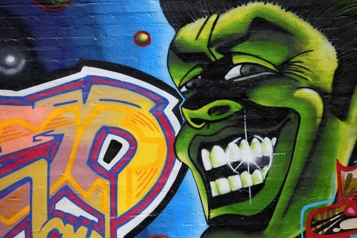 Graffiti on a wall, Rummelsburger Bucht, urban development area, Berlin Lichtenberg district, Berlin, Germany, Europe : Stock Photo