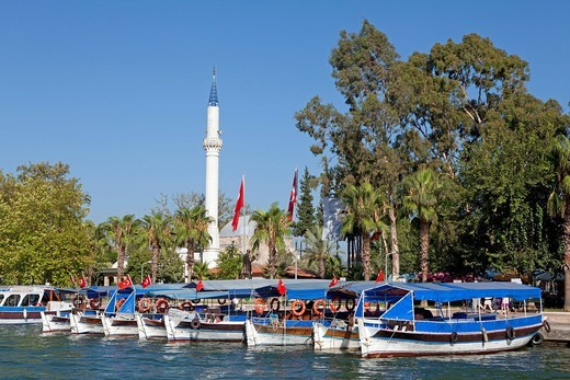 Boats and minaret, Dalyan, Dalyan Delta, Turkish Aegean, Turkey : Stock Photo