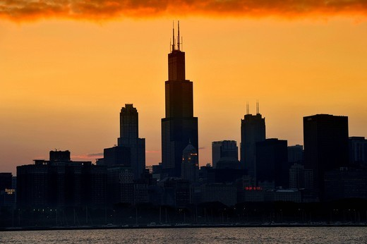 Stock Photo: 1848-541783 Evening atmosphere, sunset, Willis Tower, named Sears Tower until 2009, 311 South Wacker, skyscrapers, skyline, Lake Michigan, Chicago, Illinois, United States of America, USA