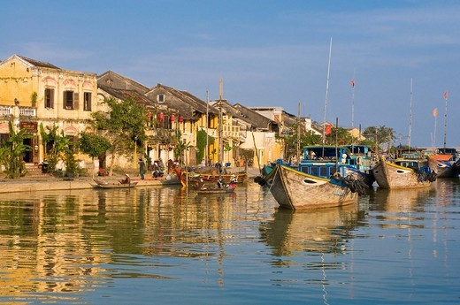 Small harbour or pier with wooden boats, Hoi An, Vietnam, Asia : Stock Photo