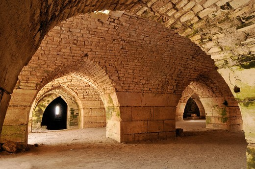 Vaulted stables in the Crusader fortress Crac, Krak des Chavaliers, UNESCO World Heritage Site, Qalaat al Husn, Hisn, Syria, Middle East, West Asia : Stock Photo