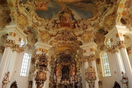 Chancel with ceiling fresco Throne of the World Court, Rococo, Wieskirche church, Wies 12, Wies Steingaden, Upper Bavaria, Bavaria, Germany, Europe : Stock Photo