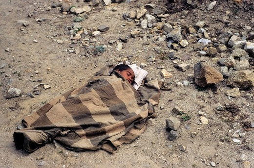 Small child wrapped in wool blanket laying on a dusty gravel road sleeping, Kashmir, Himalayas, India : Stock Photo