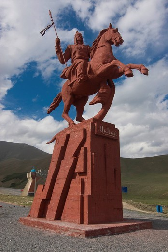Stock Photo: 1848-542490 Equestrian statue, between Sary Chelek and Bishkek, Kyrgyzstan, Central Asia