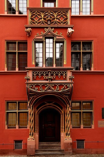 Stock Photo: 1848-54261 Bay window over a house entrance, Haus zum Walfisch, Freiburg, Baden_Wuerttemberg, Germany, Europe