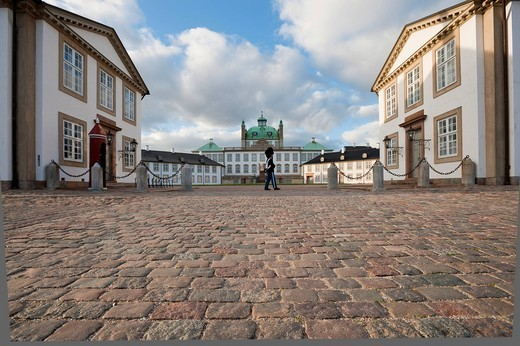 Fredensborg Slot or Fredensborg Palace with guard soldier, Fredensborg, Zealand, Denmark, Europe : Stock Photo