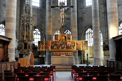 Interior with altar, Protestant Parish Church of St. Michael, Schwaebisch Hall, Baden_Wuerttemberg, Germany, Europe : Stock Photo