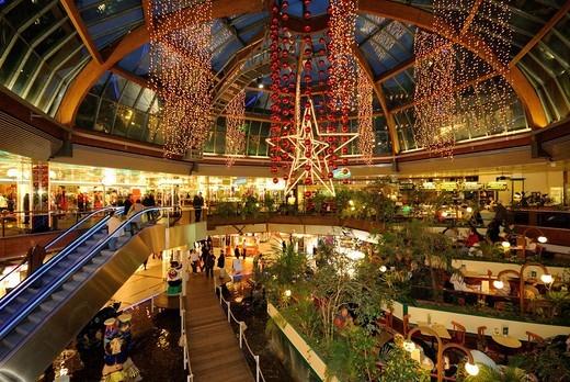 Christmas lights in the Europa_Center mall on Breitscheidplatz square, Christmas market at the Kaiser Wilhelm Memorial Church, Kurfuerstendamm, Charlottenburg, Wilmersdorf, Berlin, Germany, Europe : Stock Photo