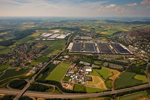 Aerial view, Volkswagen factory in Kassel, Hesse, Germany, Europe : Stock Photo
