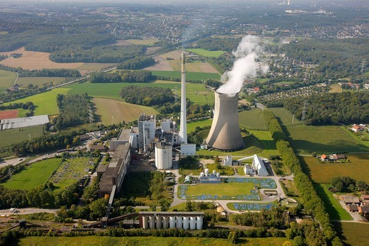 Stock Photo: 1848-543446 Aerial view, Knepper power plant, coal_fired power plant, E.ON, Mengede, Dortmund, Ruhr Area, North Rhine_Westphalia, Germany, Europe