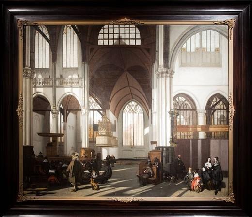 Nieuwe Kerk, painting from 1661 by Emanuel de Witte, 1617_1692, Historical Museum, Amsterdam, Holland, Netherlands, Europe : Stock Photo