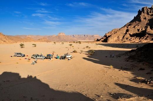 Tourist camp in the foothills of Tassili n´Ajjer National Park, Unesco World Heritage Site, Wilaya Illizi, Algeria, Sahara, North Africa : Stock Photo