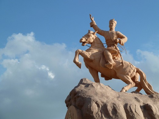 Stock Photo: 1848-543742 Equestrian statue of Sukhbaatar on Sukhbaatar Square, Ulaanbaatar, Mongolia, Asia