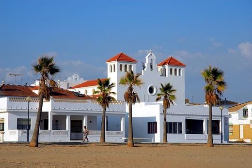 Stock Photo: 1848-543865 Promenade with church and palm trees, beach, La Antilla, Lepe, Costa de la Luz, Huelva region, Andalucia, Spain, Europe