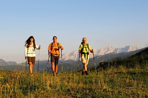 Stock Photo: 1848-543978 Hikers on the Winklmoosalm mountain pasture, Reit im Winkl Chiemgau, Upper Bavaria, Bavaria, Germany, Europe
