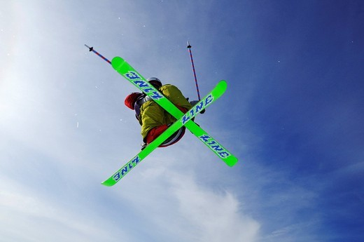 Stock Photo: 1848-543982 Skier, fun park, ski resort of Reit im Winkl, Chiemgau, Upper Bavaria, Germany, Europe