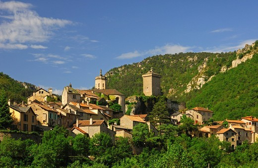 Stock Photo: 1848-544058 The medivial commune of Peyreleau in the Jonte gorge, Aveyron, France, Europe