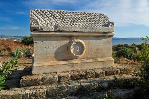 Antique sarcophagus at the archeological site of Tyros, Tyre, Sour, Unesco World Heritage Site, Lebanon, Middle East, West Asia : Stock Photo