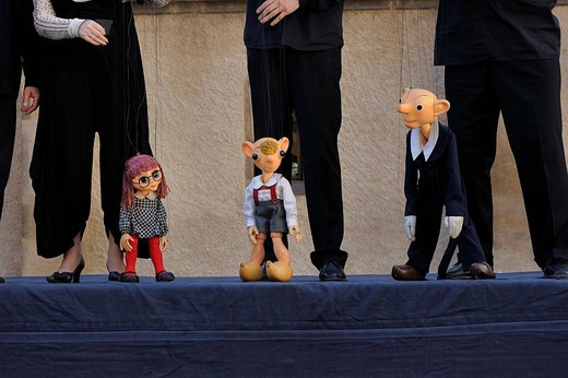 Stock Photo: 1848-544187 Prague Puppet Theatre, Spejbl, Hurvínek and Máni&269,ka, public performance on an outdoor stage on the Schlossplatz square, Meissen, Saxony, Germany, Europe