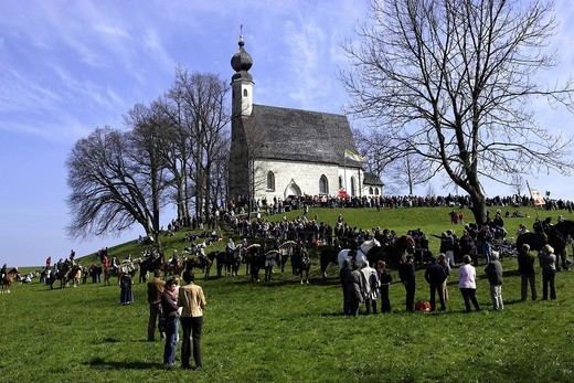 Saint George church and horse parade, Traunstein, Upper Bavaria, Germany, Europe : Stock Photo