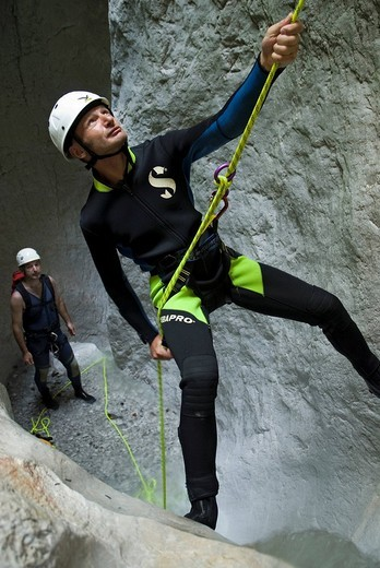 Canyoning in the Bruckgraben, rift, Gesaeuse National Park, Styria, Europe : Stock Photo