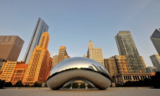 Stock Photo: 1848-544480 Cloud Gate sculpture, The Bean, by Anish Kapoor, in front of the skyline with the Legacy at Millennium Park Building, The Heritage, the Pittsfield Building, AT & T Plaza and Millennium Park, Chicago, Illinois, United States of America, USA