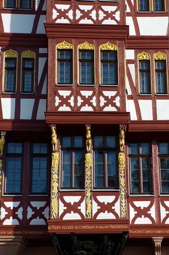 Stock Photo: 1848-544575 Haus Grosser Engel building, historic half_timbered house, Ostzeile, Roemerberg, Frankfurt, Hesse, Germany, Europe