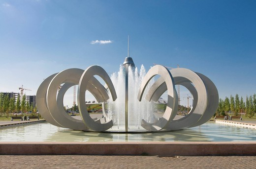 Stock Photo: 1848-544627 Fountains at the Khan Shatyry Entertainment Center, landmark of Astana, Kazakhstan, Central Asia