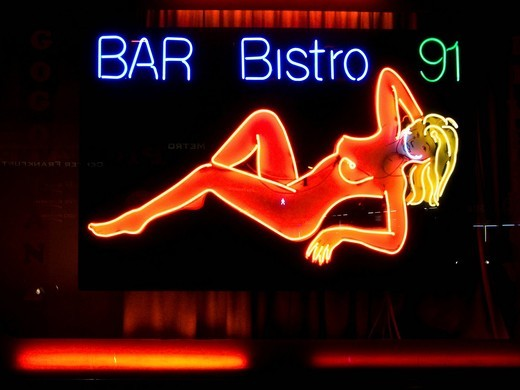 Stock Photo: 1848-544706 Erotic neon sign in the red light district, Frankfurt, Hesse, Germany, Europe