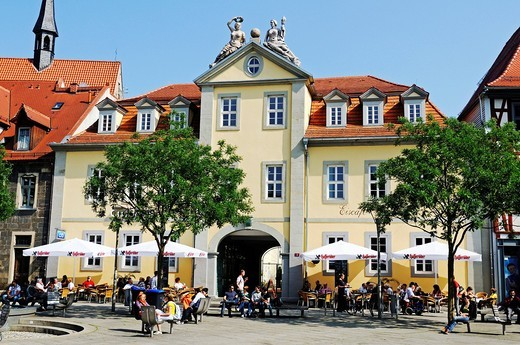 Stock Photo: 1848-544883 Sidewalk cafes on Anger square, Erfurt, Thuringia, Germany, Europe