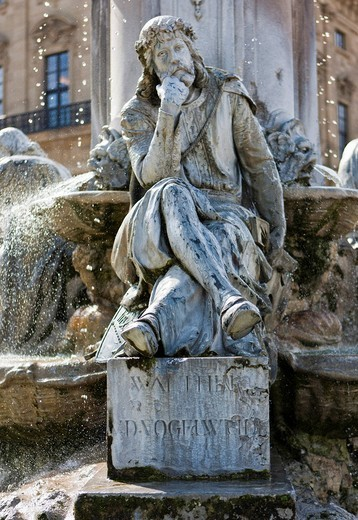 Franconia fountain, Wuerzburg Residenz, a Baroque palace, UNESCO World Heritage Site, Wuerzburg, Bavaria, Germany, Europe : Stock Photo