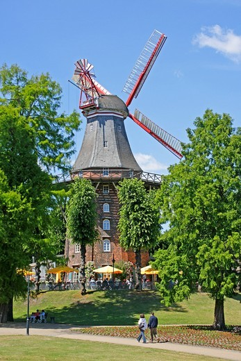 Windmill, am Wall street, Bremen, Germany, Europe : Stock Photo