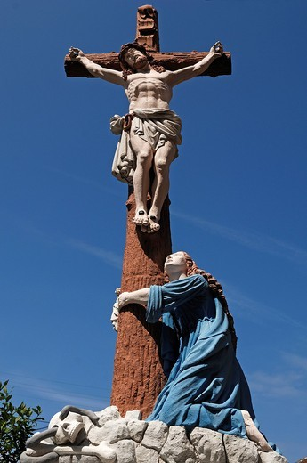 Stock Photo: 1848-544917 Coloured crucifix with Mary, Rue de Jeanne d´Arc, Ingersheim, Alsace, France, Europe