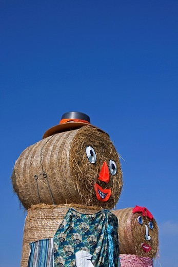 Decorated bales of straw, harvest festival : Stock Photo