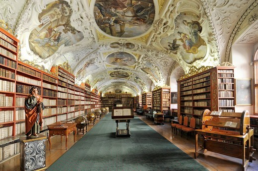 Stock Photo: 1848-545289 Very old books, library, hall of theology, Strahov Monastery, Hrad&269,any, Castle District, Prague, Czech Republic, Europe