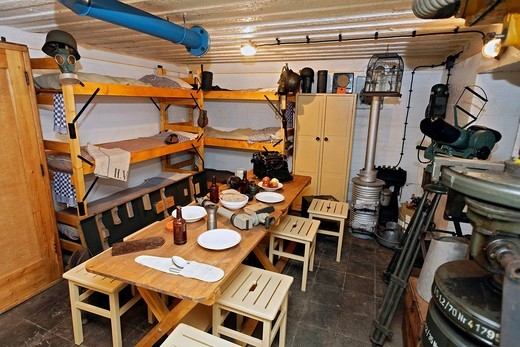 Equipped crew room in a bunker from the second World War, Atlantic Wall 1942, Bunker Museum Zoutelande, Walcheren, Zeeland, Netherlands, Benelux, Europe : Stock Photo
