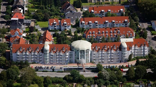 Aerial view, Curanum Westfalen GmbH, Am Ochsenkamp retirement home, Schwelm, North Rhine_Westphalia, Germany, Europe : Stock Photo