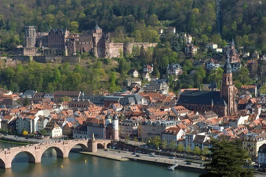 City view seen from Philosophers´ Walk, Heidelberg, Neckar, Palatinate, Baden_Wuerttemberg, Germany, Europe : Stock Photo