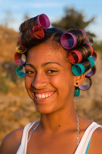Stock Photo: 1848-545689 Smiling native woman with rollers, Fogo, Cabo Verde, Cape Verde, Africa